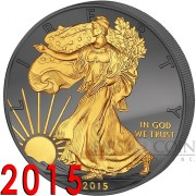 USA American Silver Eagle GOLDEN ENIGMA EDITION WALKING LIBERTY $1 Silver Coin 2015 Black Ruthenium & Gold Plated 1 oz